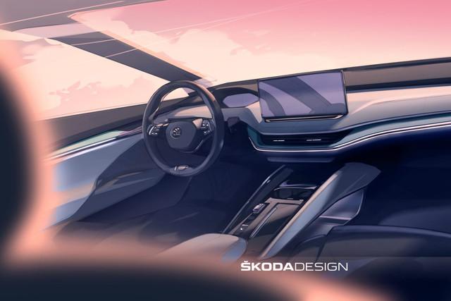 Skoda Enyaq 2021 - interior sketch
